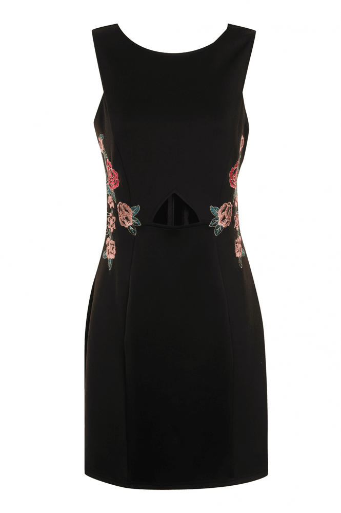Girls on Film Black Sleeveless Side Floral Design Bodycon Dress