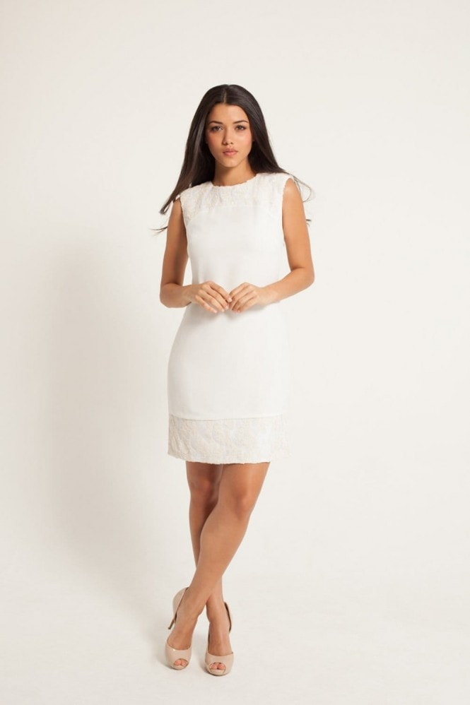 Little Mistress White Embellished Shift Dress