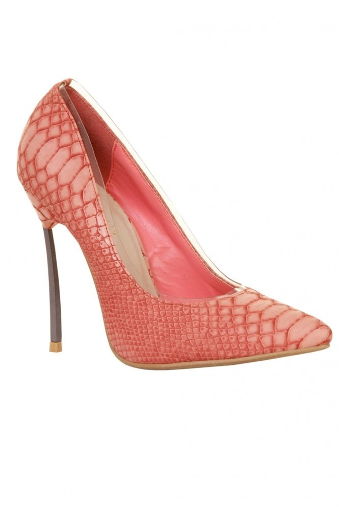 Outlet Paper Dolls Pink Snakeskin Metal Heel Court