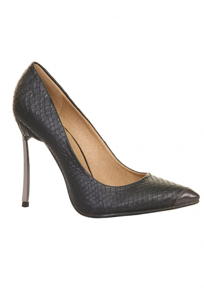 Outlet Paper Dolls Black Snakeskin Metal Heel Court