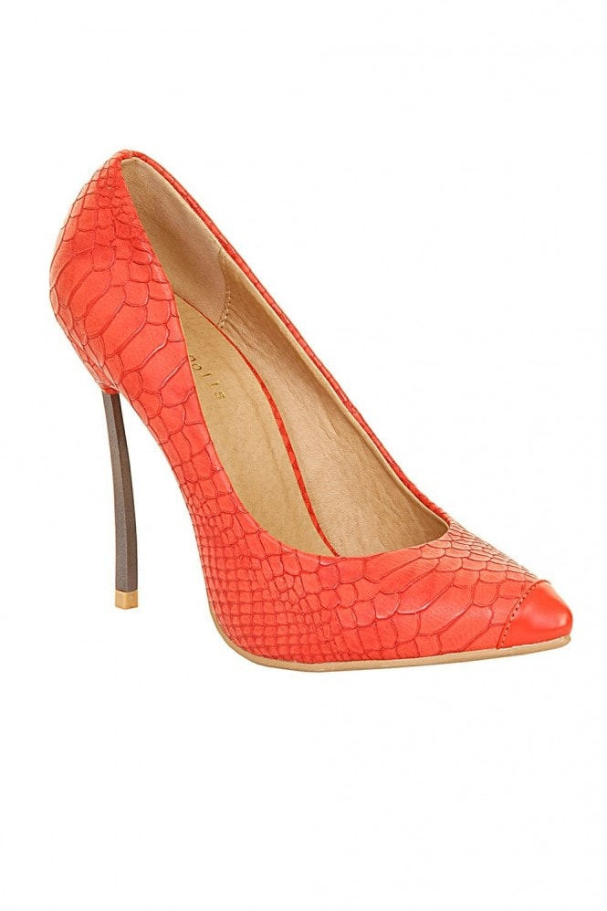 Outlet Paper Dolls Red Snakeskin Metal Heel Court