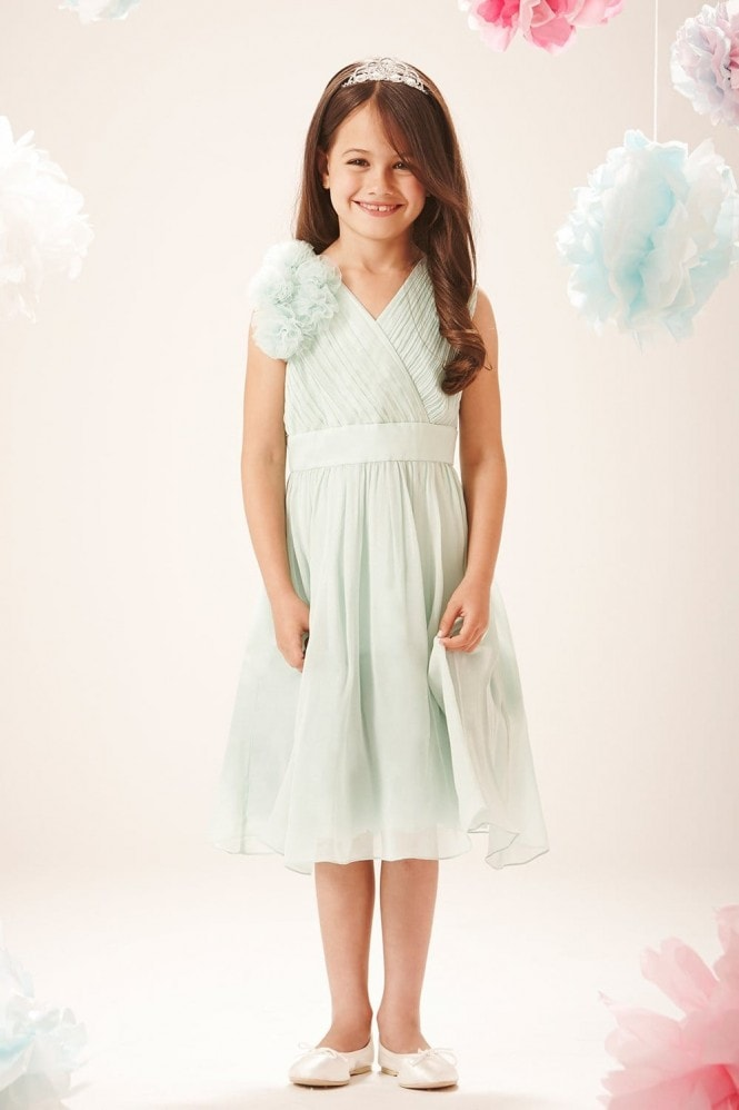 Little MisDress Sage Chiffon Shoulder Detail Party Dress