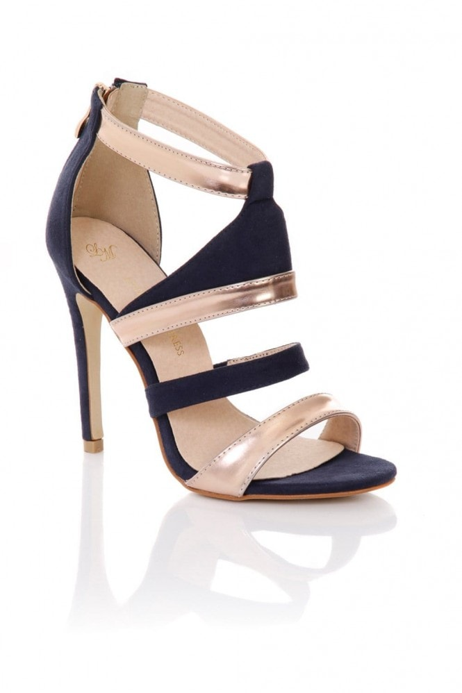Little Mistress Footwear Strappy Blue and Gold Stilettos