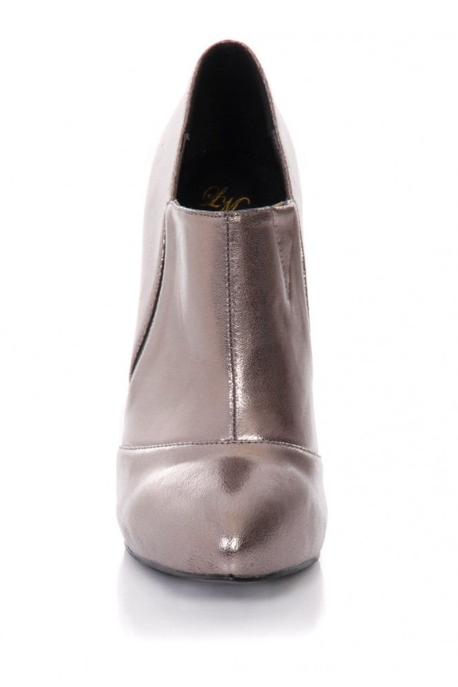 Pewter Stiletto Heel Ankle Boots
