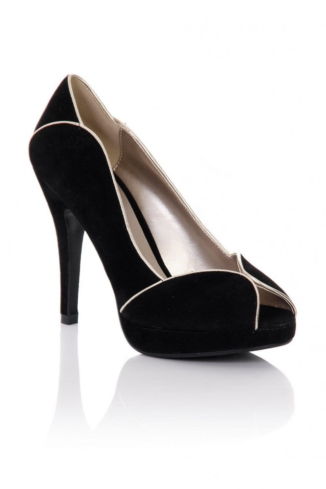 Little Mistress Black Peep Toe Contrast Trim Heels