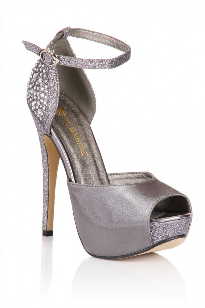 Little Mistress Footwear Silver Diamante Peep Toe Strap Heels
