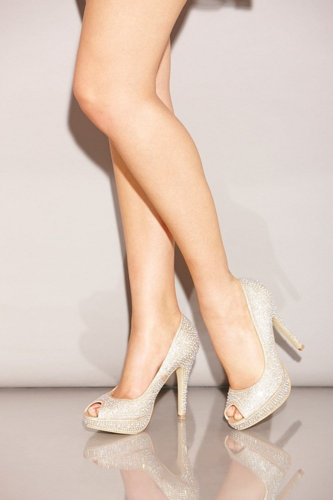 Little Mistress Nude Diamante Peep Toe Heels - Little Mistress from Little  Mistress UK df91675f7206