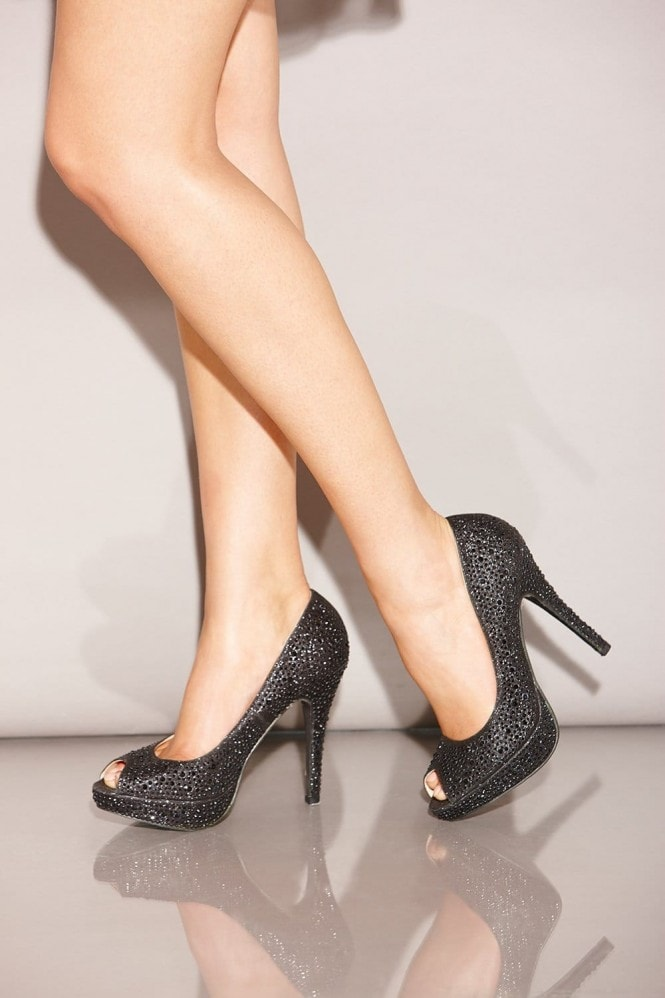 Little Mistress Footwear Black Diamante Peep Toe Heels