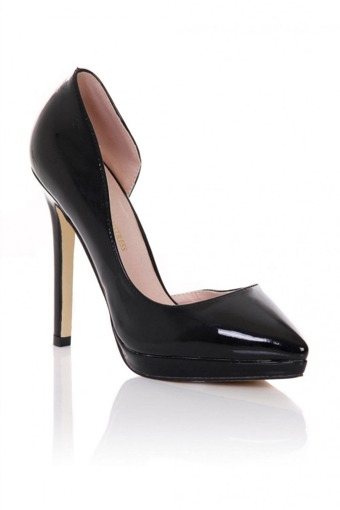 Little Mistress Footwear Black Patent Open Side Court Shoes