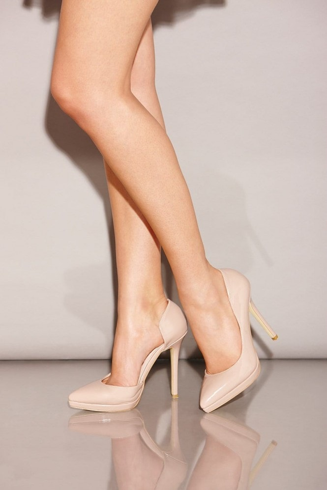 Little Mistress Footwear Nude Patent Open Side Court Shoes