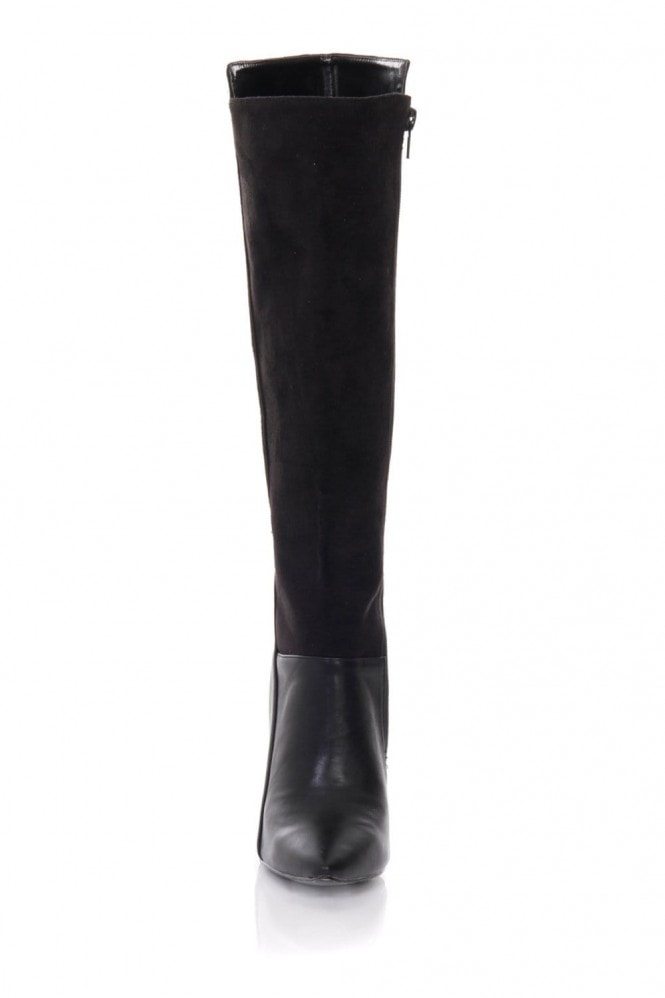 Outlet Paper Dolls Black Mixed Texture Knee Boots