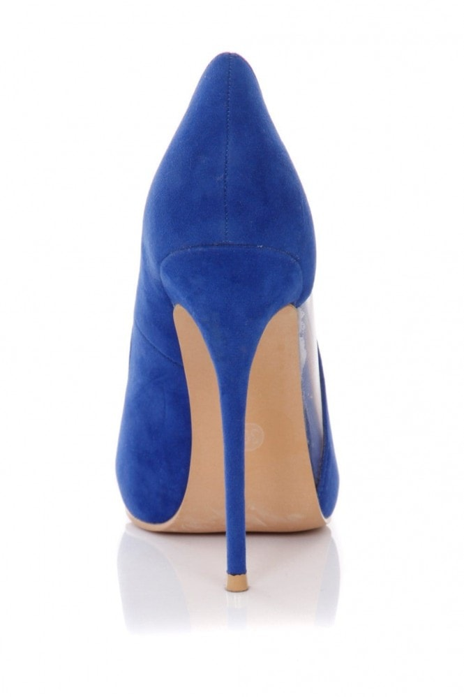 Outlet Paper Dolls Blue Pointed Mesh Cut Out Court Shoes