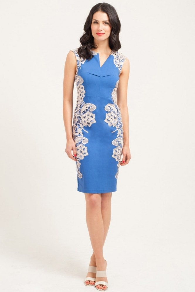 Paper Dolls Blue & Cream Mirrored Lace Dress