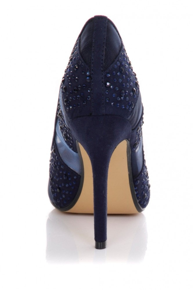 Little Mistress Footwear Blue Mesh Diamante Pointed Court Shoe