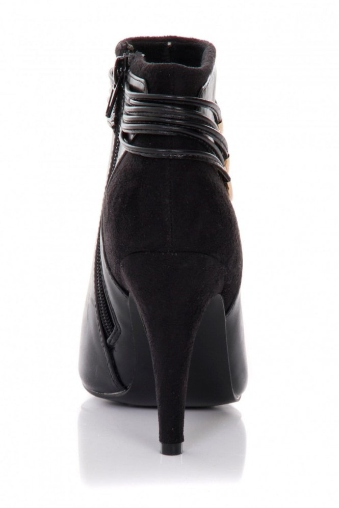 Little Mistress Footwear Black Pointed Chain Side Ankle Boots