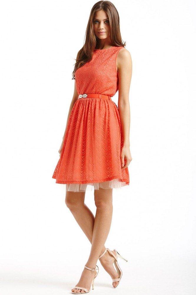 Orange Lace Overlay Belted Fit and Flare Dress