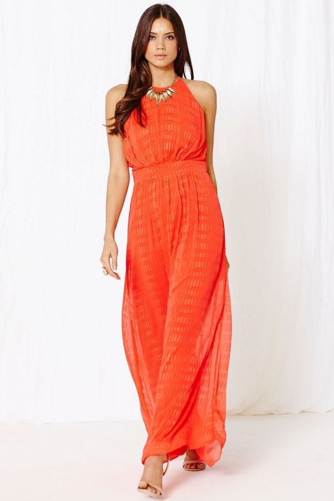 Coral Textured Chiffon Embellished Maxi Dress