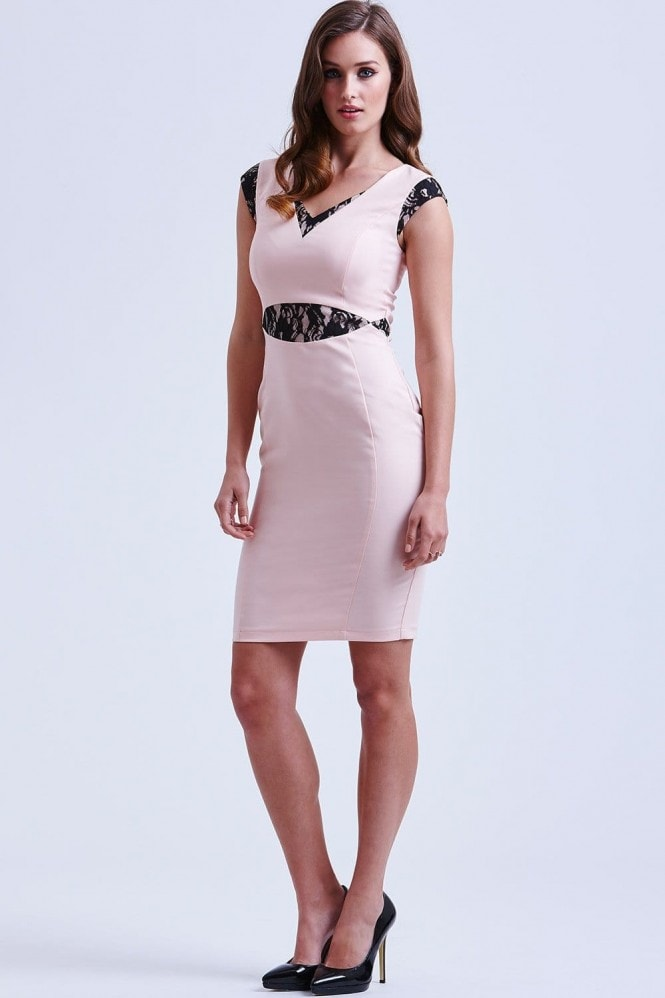 Outlet Paper Dolls Pink and Black Cut Out Lace Dress