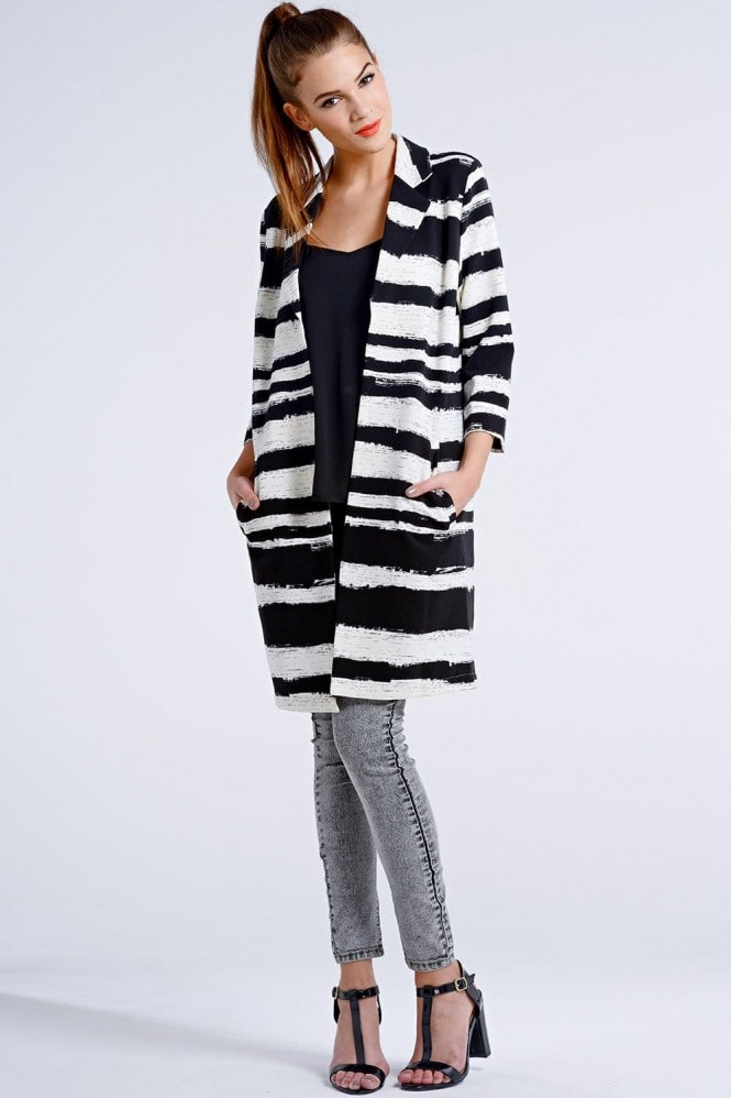 Outlet Girls On Film Black and White Striped Paint Stroke Jacket