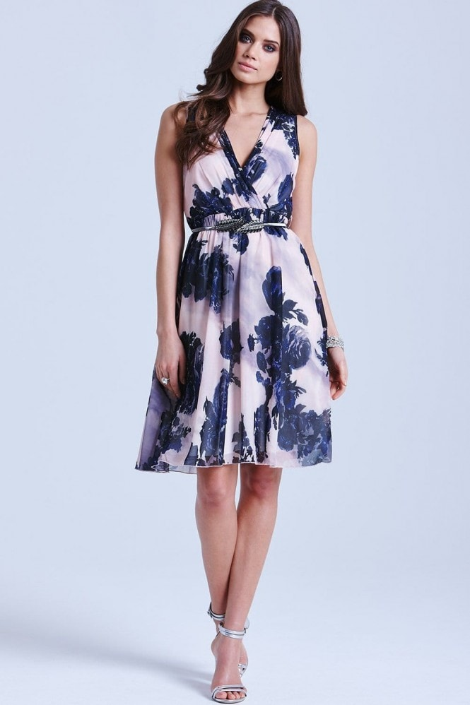 Nude and Navy Floral V Neck Dress