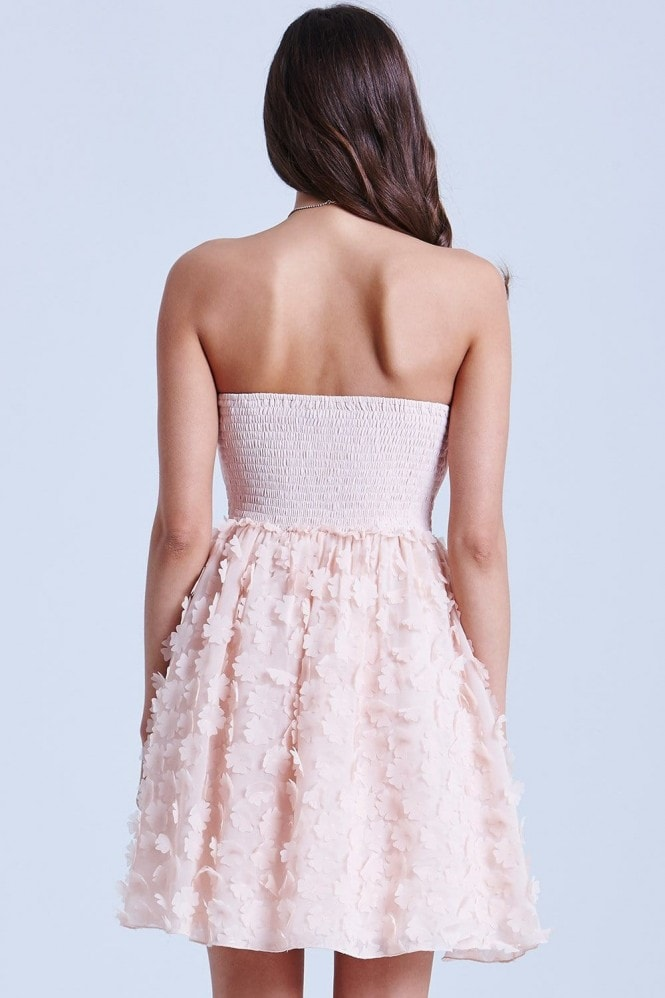 Nude Floral Appliqué Prom Dress