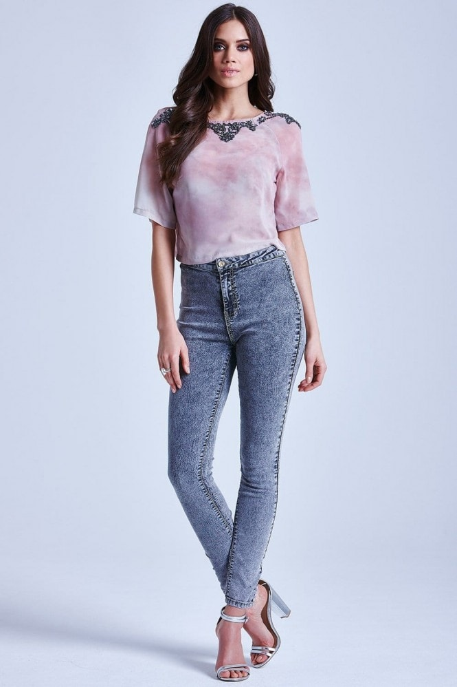 Little Mistress Pink and Cream Blur Embellished Top
