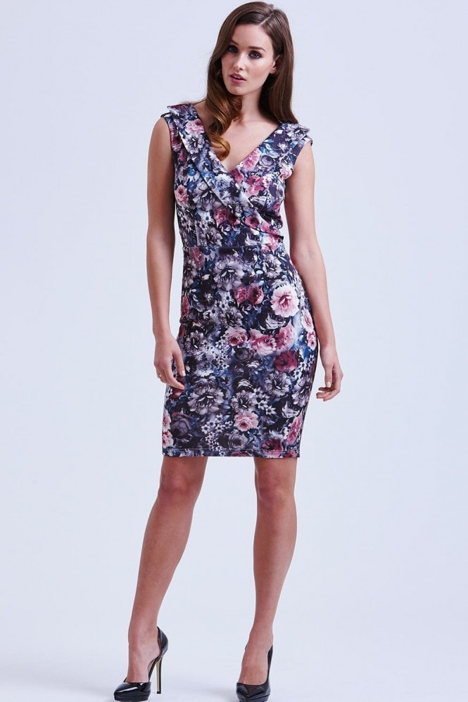 Outlet Paper Dolls Floral Cross Over Bardot Dress