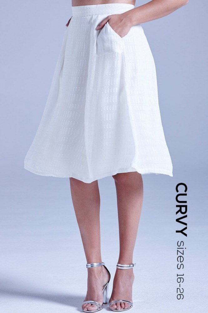 Curvy White Sheer Layered A Line Skirt