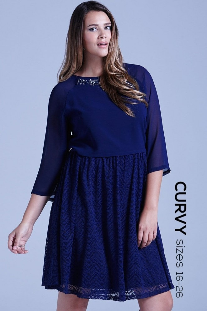 Little Mistress Curvy Curvy Navy Chiffon and Lace 2 in 1 Embellished Dress