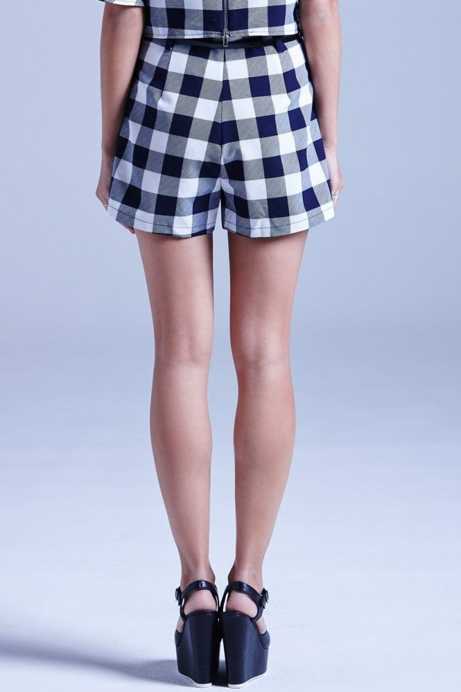 Outlet Girls On Film Navy and White Gingham Shorts