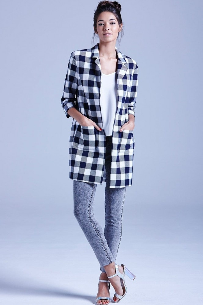 Girls on Film Navy and White Gingham Coat