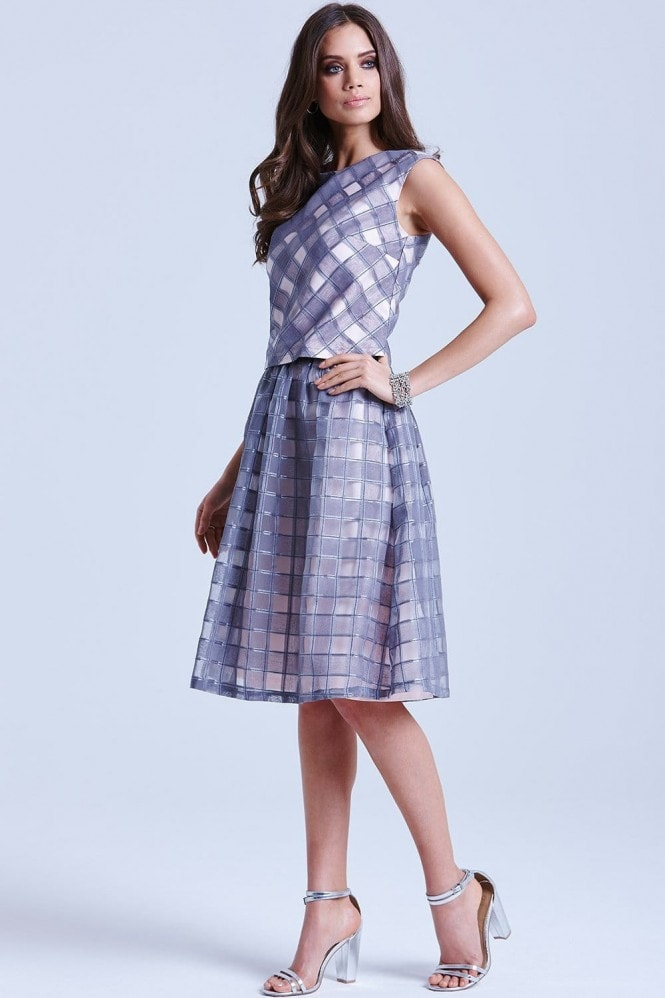 Grey and Pink Organza Gingham Skirt