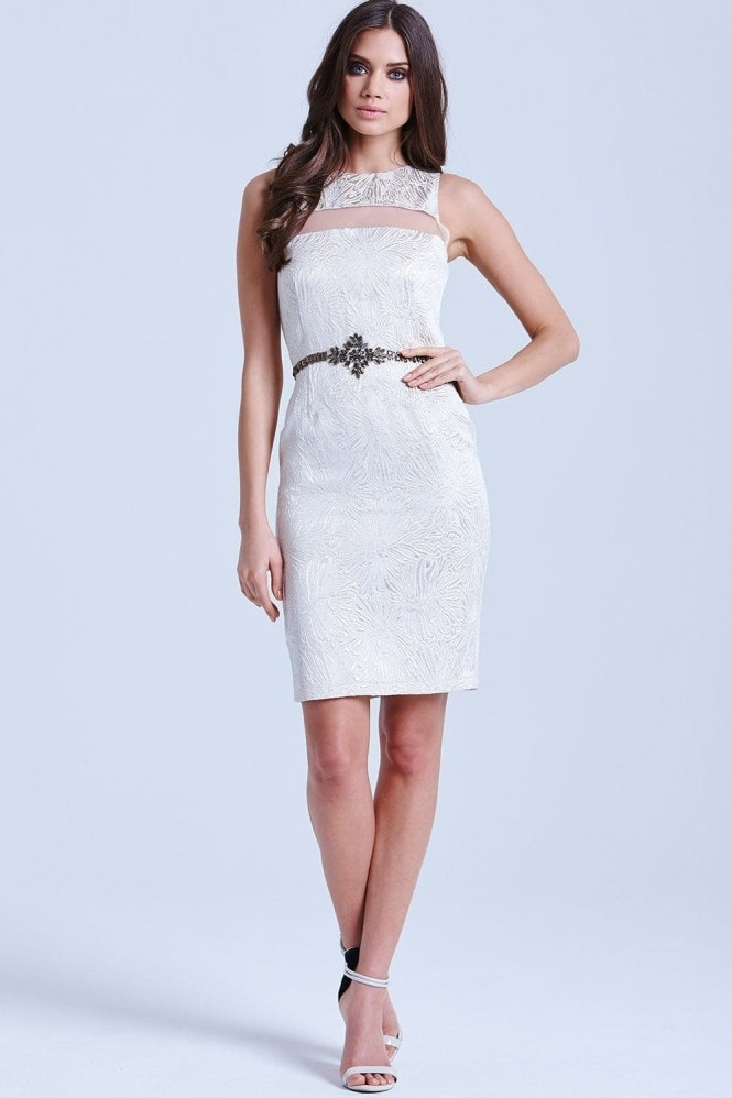 Metallic Jacquard Mesh Insert Dress