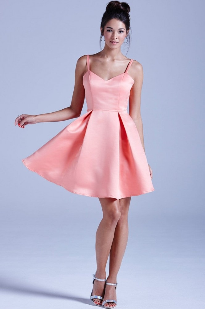 Outlet Girls On Film Coral Structured Bow Back Prom Dress