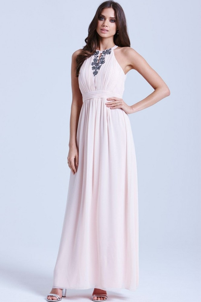 Little Mistress Nude Chiffon Embellished Halter Maxi