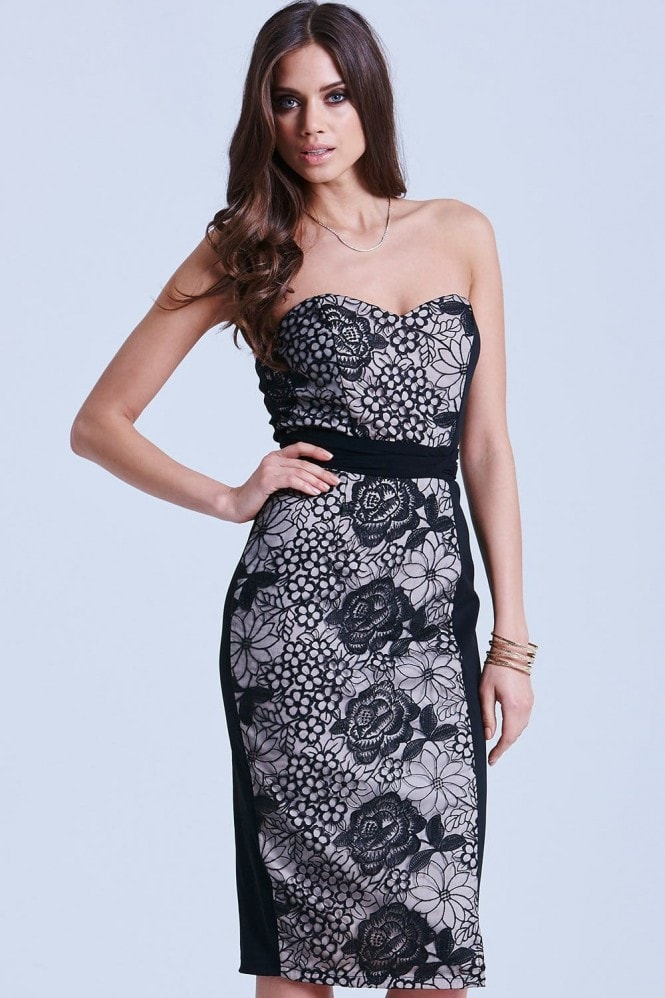 Black and White Floral Overlay Bandeau Dress