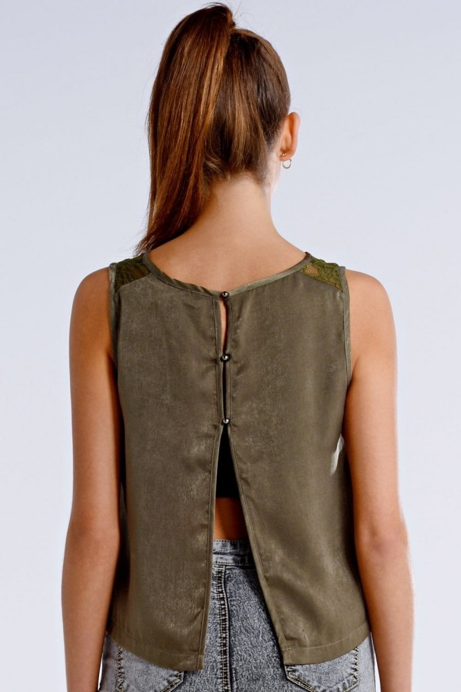 Outlet Girls On Film Khaki Open Back Sleeveless Top