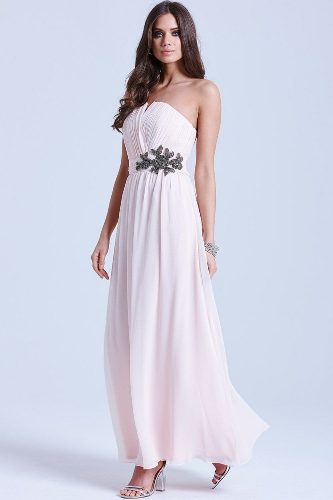 Nude Floral Embellished Bandeau Maxi Dress