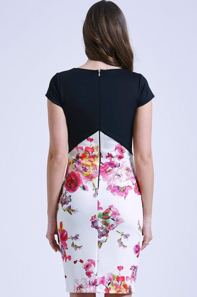 Outlet Paper Dolls Two in one black and floral bodycon dress