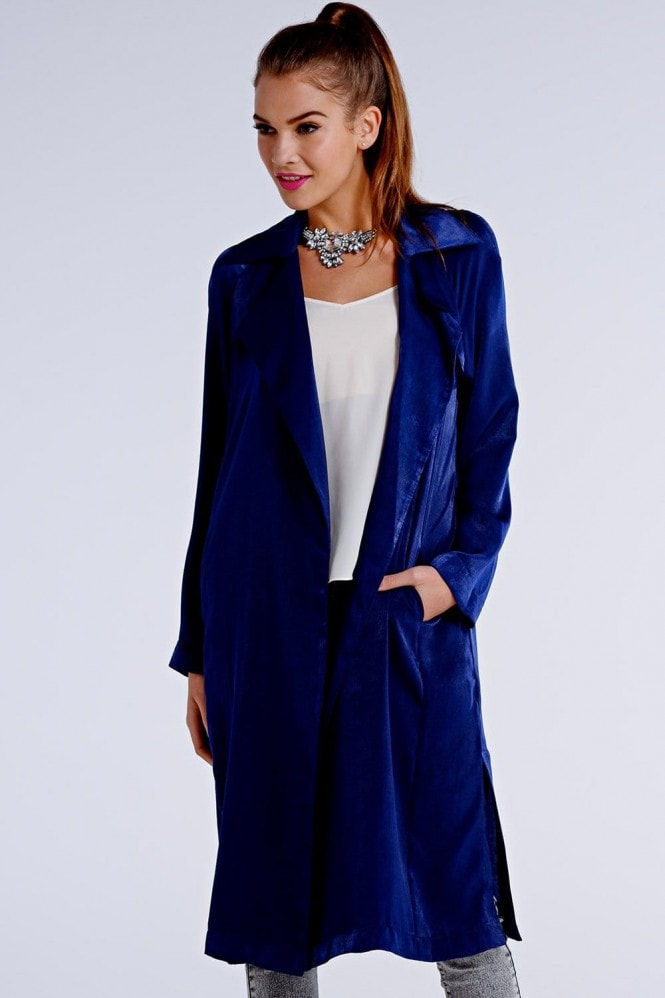 Outlet Girls On Film Navy Satin Trench Coat