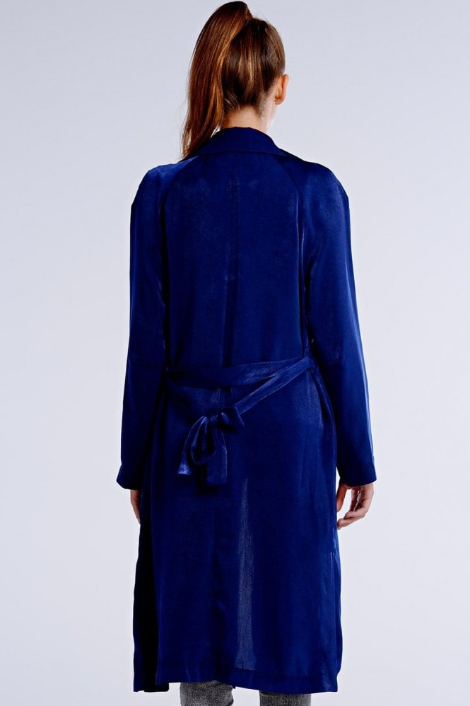 Girls on Film Navy Satin Trench Coat