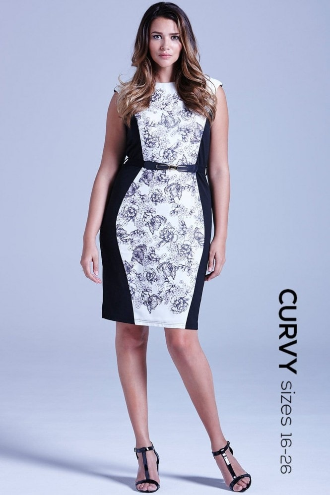 Grey and White Illustrated Floral Panel Dress