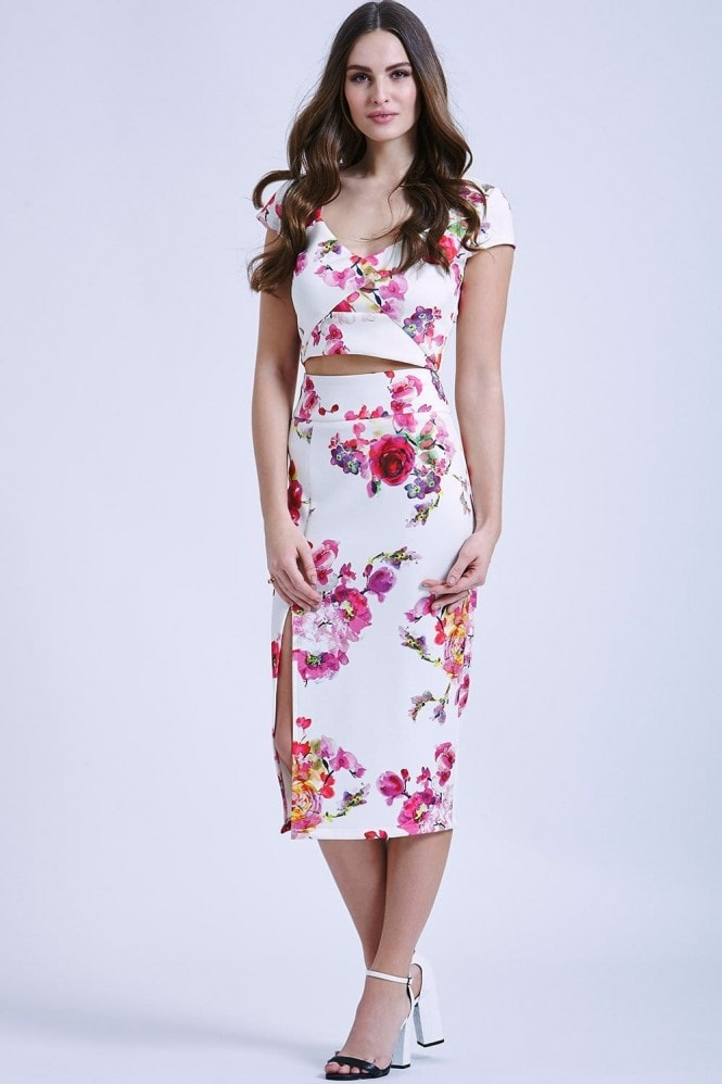 Outlet Paper Dolls Rose Print Scuba Skirt