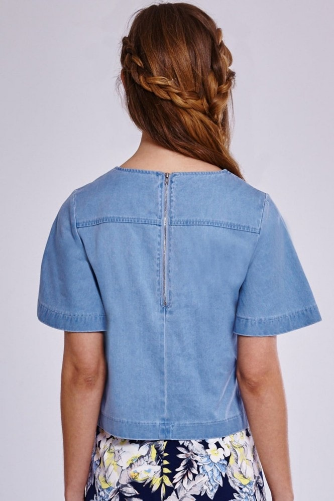Outlet Girls On Film Denim Shell Top with Zip Detail