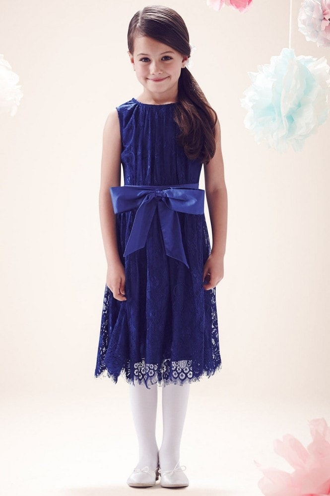 Little MisDress Blue Lace Overlay Bow Dress