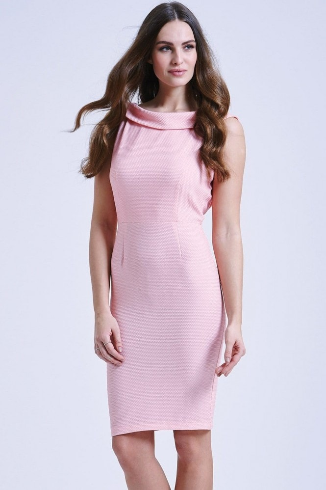 Paper Dolls Pink polka dot V back bodycon dress