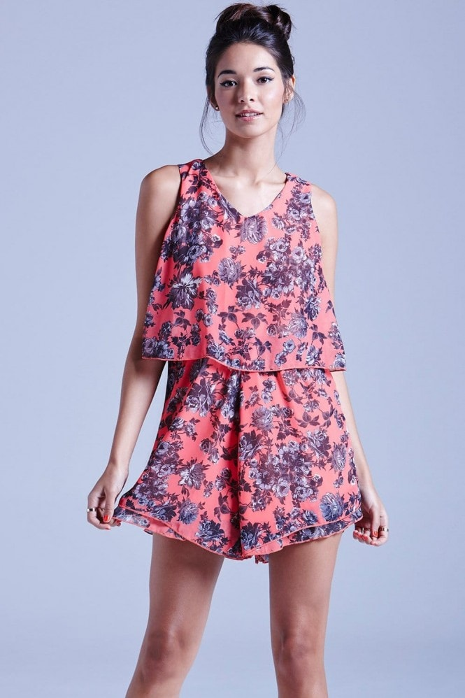 Girls on Film Coral Floral Chiffon Playsuit