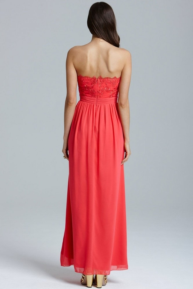 Little Mistress Coral Lace Bust Strapless Dress