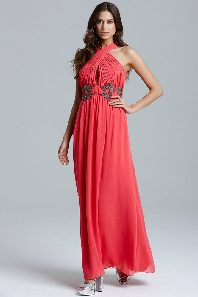 Little Mistress Coral Wrap Neck Leaf Embellished Maxi Dress