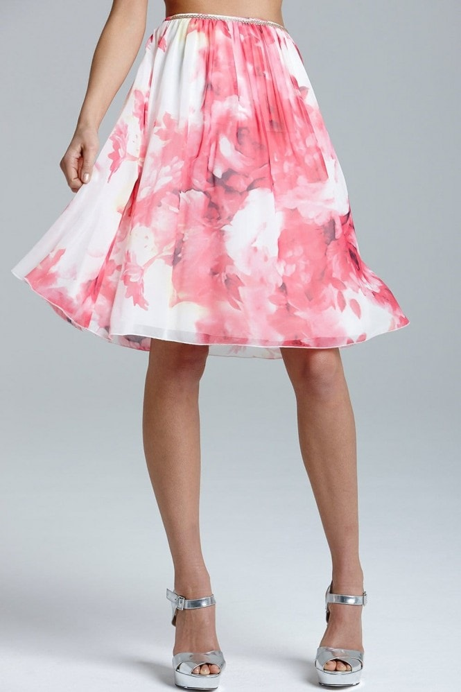 Pink Floral Print A Line Skirt